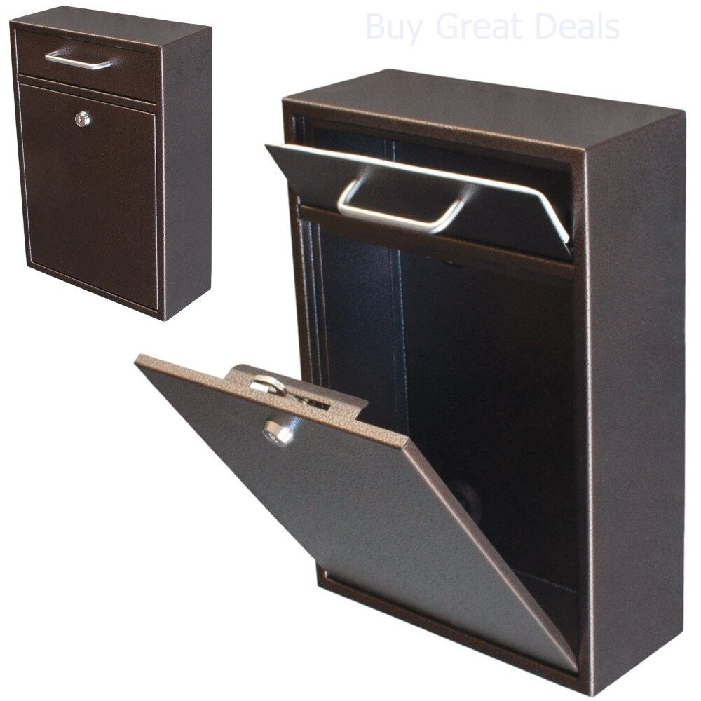 Mailbox Wall Mount With Lock Key Drop Box Parcel Cash