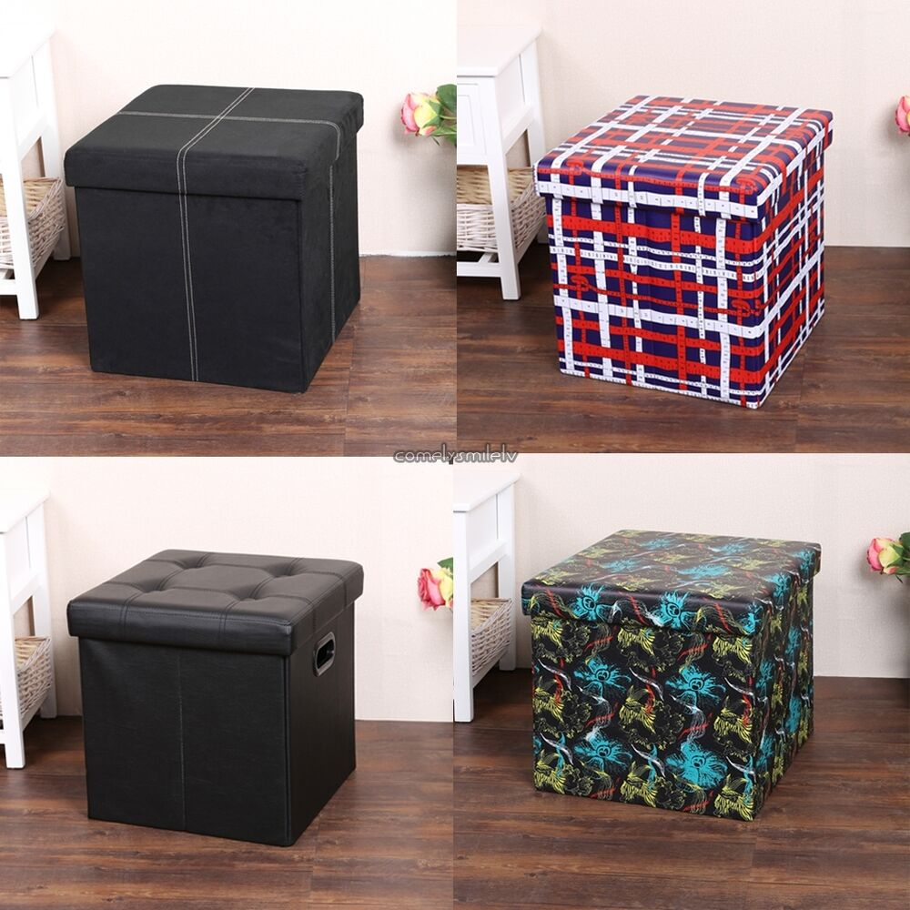 CUBE PVC LEATHER FOLDING OTTOMAN POUFFE SEAT FOOT STOOL STORAGE BOX | eBay & CUBE PVC LEATHER FOLDING OTTOMAN POUFFE SEAT FOOT STOOL STORAGE ... islam-shia.org