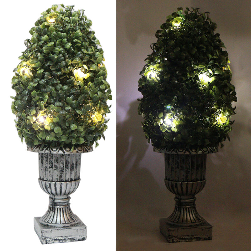 Outdoor Topiary Artificial Plants With Battery Operated 10pc LED Lights EBay