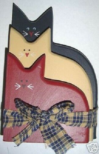 Americana Stacked Cats Patriotic Rustic Primitive Vintage
