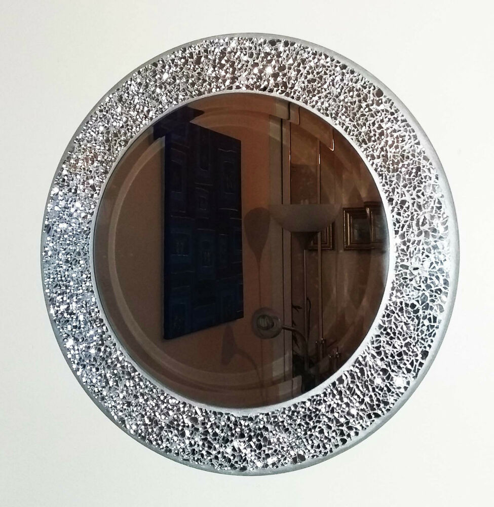round silver cracked mosaic wall mirror 40cm hand made new ebay. Black Bedroom Furniture Sets. Home Design Ideas