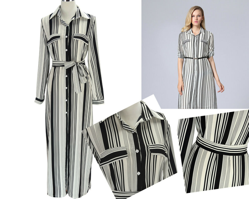 Fashion womens lady black white button down stripe maxi Women s long sleeve shirt dress