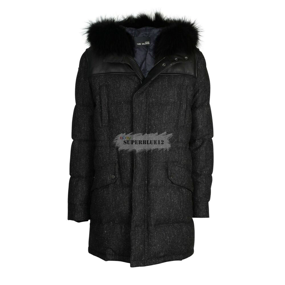 e3a1631c54de Details about YVES SALOMON HOMME WOOL DOWN PARKA w  RACCOON HOOD FUR AND  LEATHER PATCH