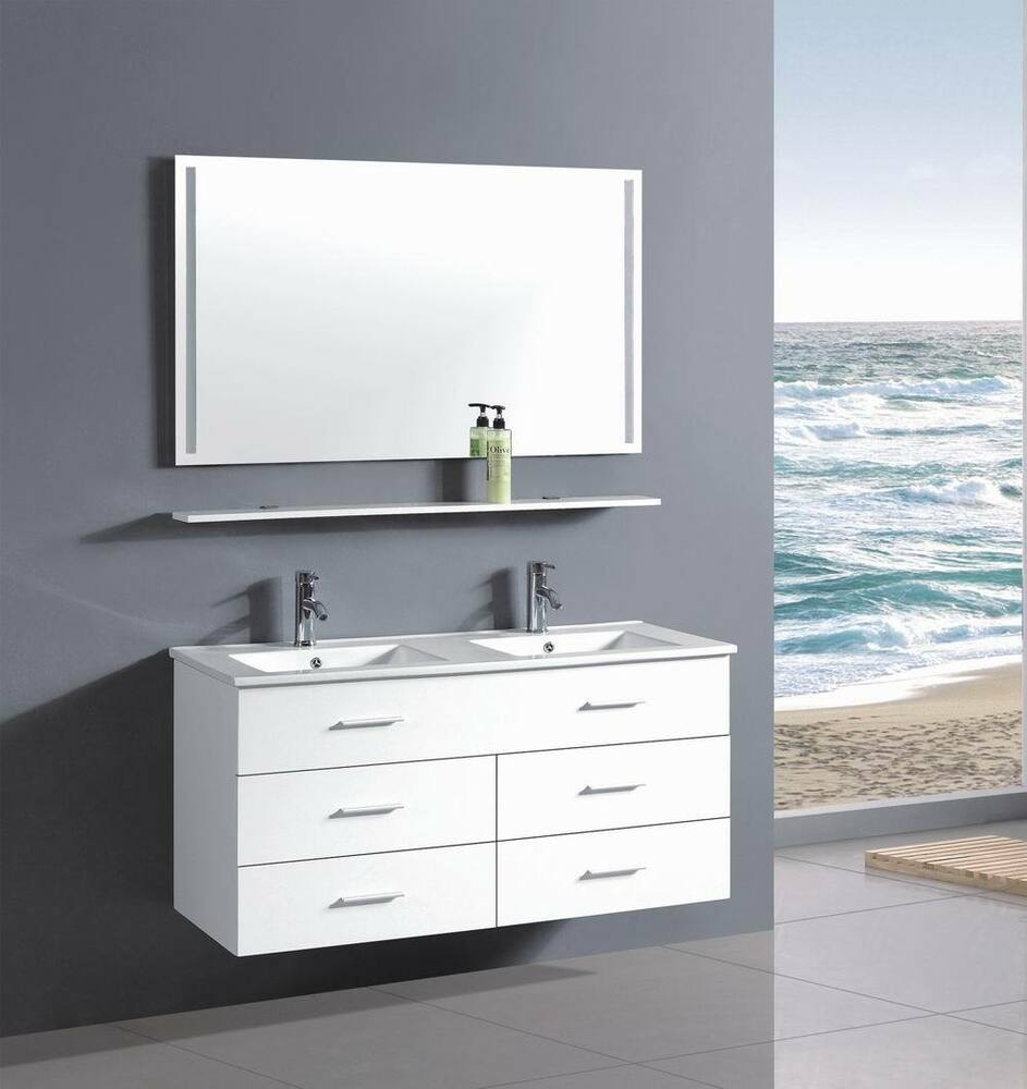 48 Inch Belvedere Modern Wall Floating Bathroom Vanity Double Sink In White Ebay