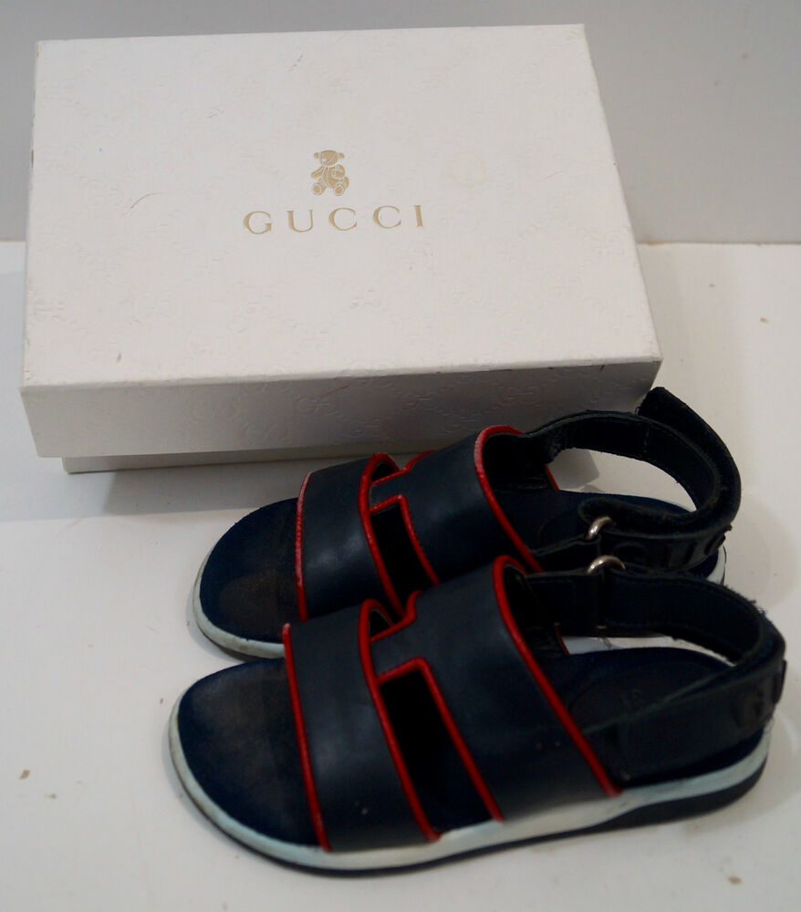 GUCCI Navy Blue Infant Toddler Boys Leather Rubber Branded