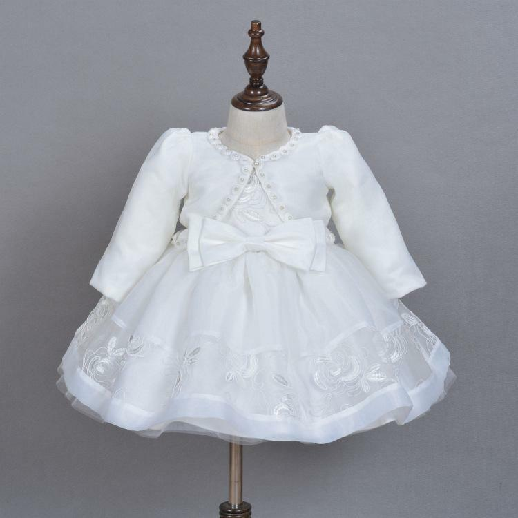 Luxury Embroidery Lace Christening Gown Baby Girl Baptism