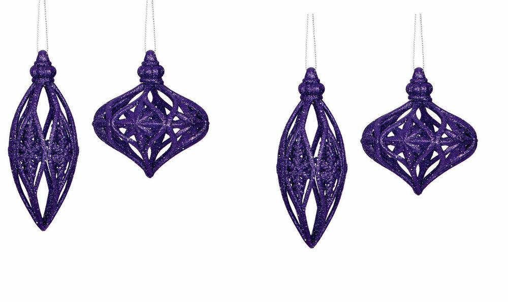 4 Large Purple Glitter Bauble Drops Christmas Hanging