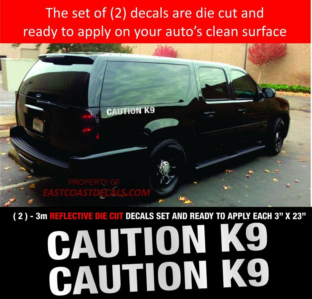 Details about caution k9 reflective police emergency 911 reflective 2 white 3m decals
