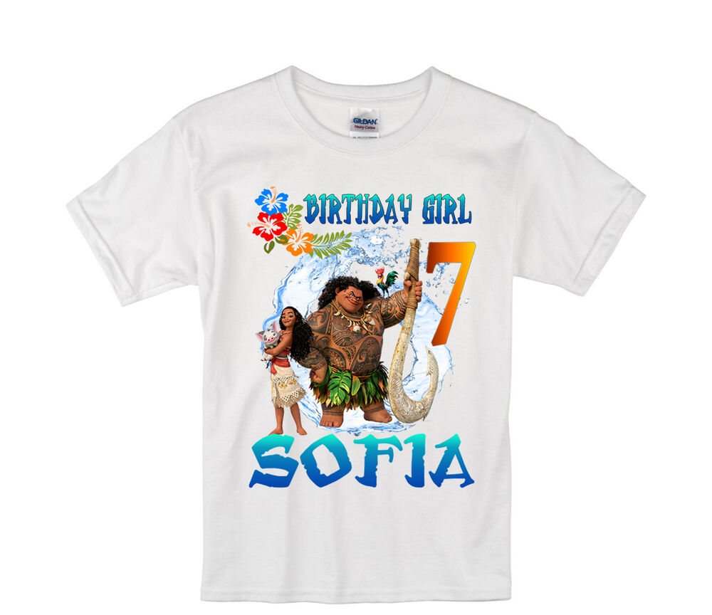 moana birthday shirt personalized custom name age kids t shirt ebay. Black Bedroom Furniture Sets. Home Design Ideas