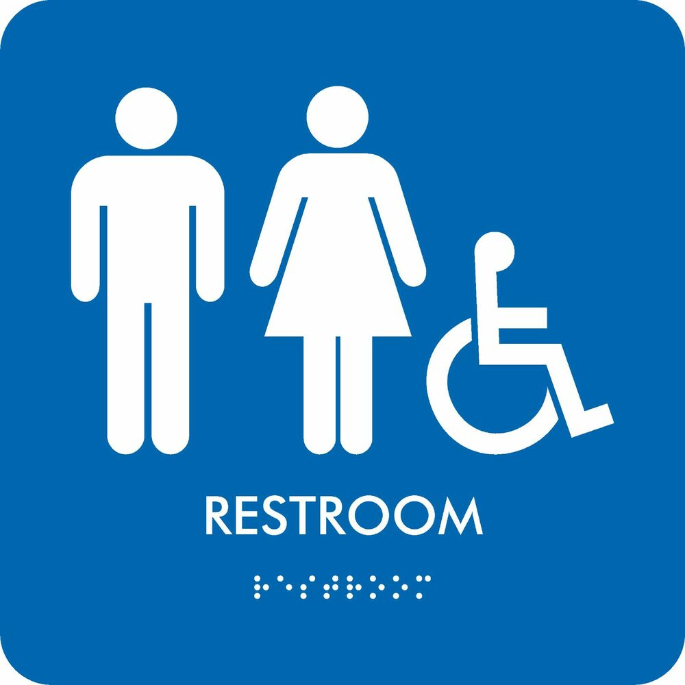 Man/Women/Accessibility ADA-compliant Restroom Braille ...