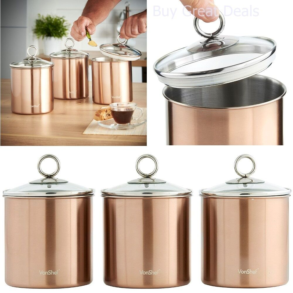 Kitchen Canister Set Stainless Steel Glass Lid 3 Piece