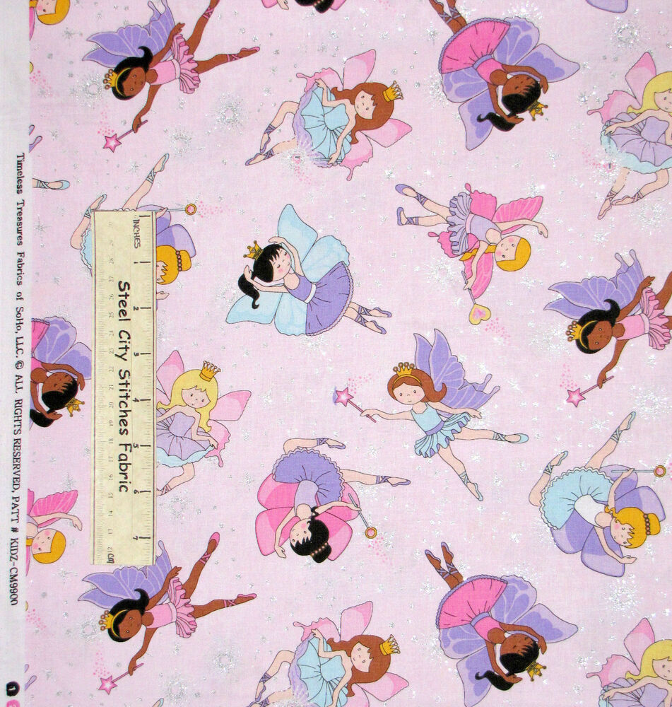 Fairy princess fabric 100 cotton by the yard timeless for Cotton fabric by the yard