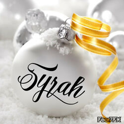 Personalised Name Vinyl Decal Sticker For Bauble Christmas/Xmas Decoration
