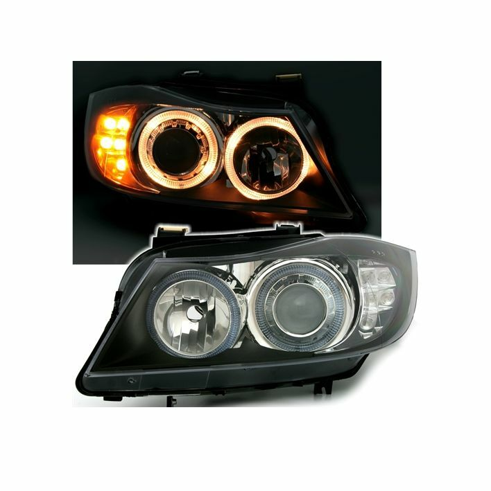 2 feux phare avant angel eyes bmw serie 3 e90 e91 phase1 avec clignotants led ebay. Black Bedroom Furniture Sets. Home Design Ideas
