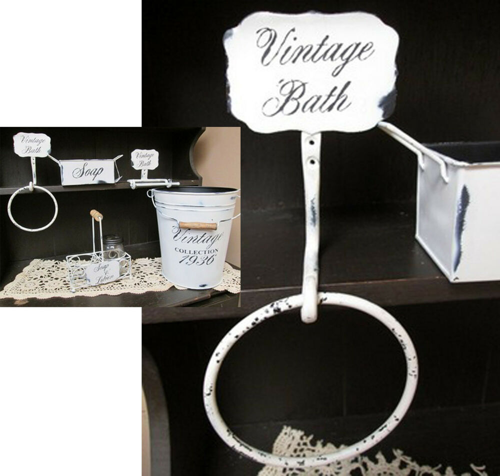 Reproduction Vintage Bath Towels: Iron Bathroom Towel Ring Distressed White Vintage Bath