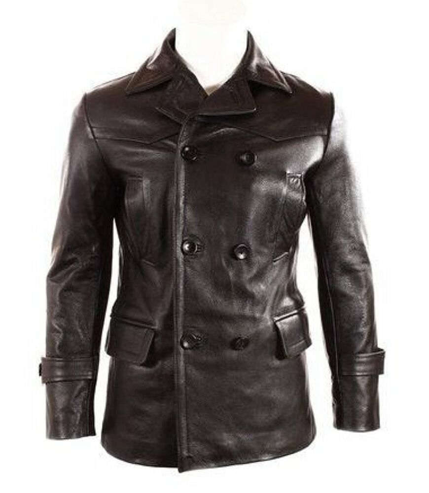 Pea coat leather jacket