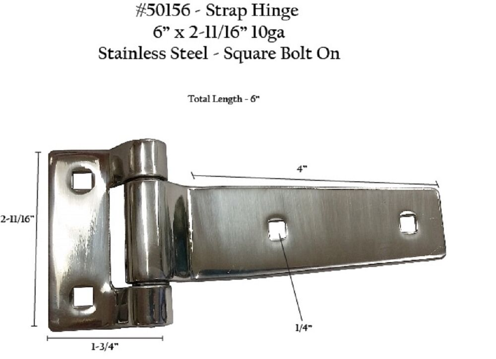 Two Strap Hinges Stainless Steel Square Bolt On 50156 Ebay