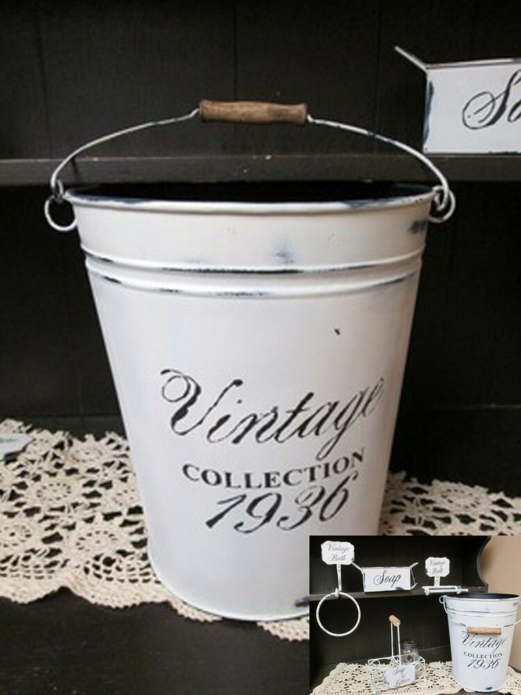 Shabby Chic Trash Can White Distressed Pail Bucket W