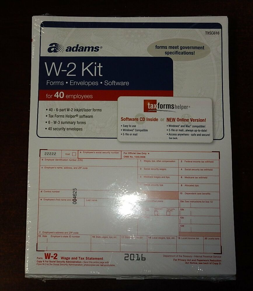 2016 40 EMPLOYEE ADAMS W-2 W2 KIT 6-PART IRS TAX FORMS