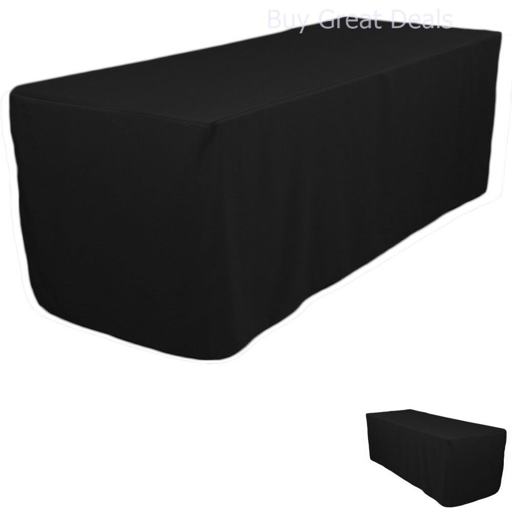 polyester tablecloth 6 foot folding table fitted table skirts cover black travel ebay. Black Bedroom Furniture Sets. Home Design Ideas