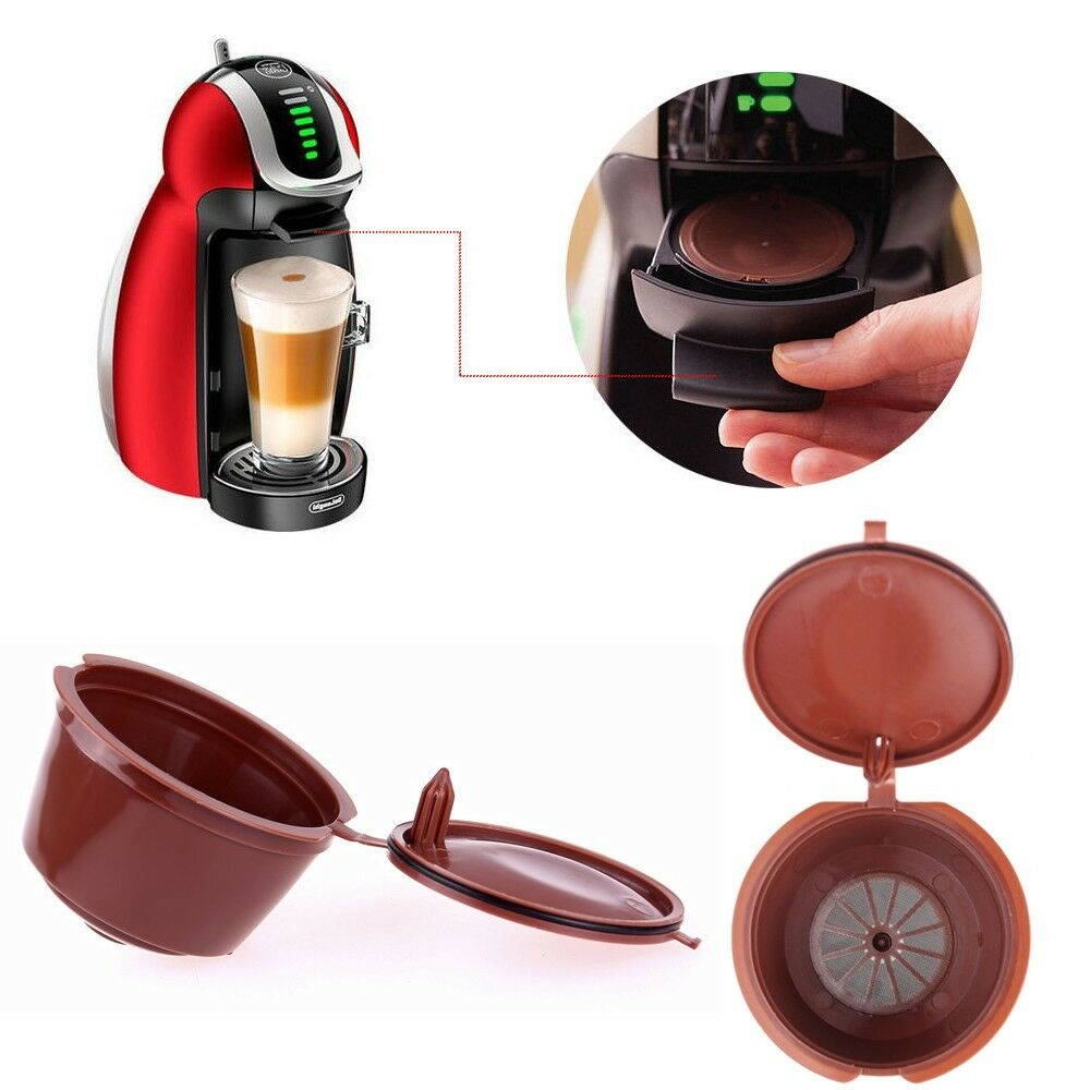 kitchen refillable reusable cup refill filter coffee capsules for dolce gusto ebay. Black Bedroom Furniture Sets. Home Design Ideas
