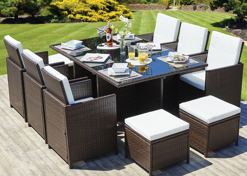 Rattan garden furniture set chairs table outdoor patio for Rattan outdoor furniture