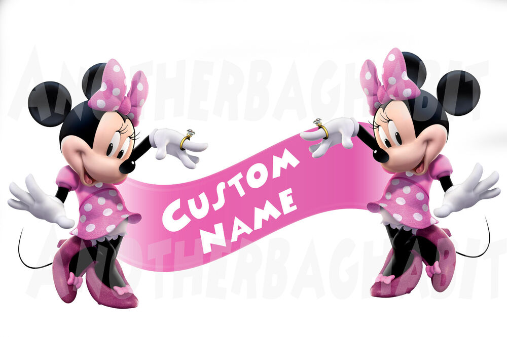 minnie mouse clubhouse room decor wall decal removable sticker custom name ebay. Black Bedroom Furniture Sets. Home Design Ideas