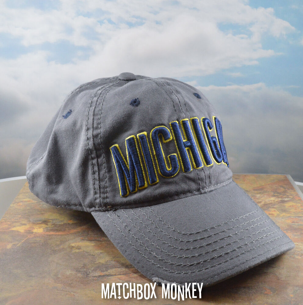 Details about U of M University of Michigan Wolverines Baseball Hat Ball Cap  Gray Embroidered 573810d2a50