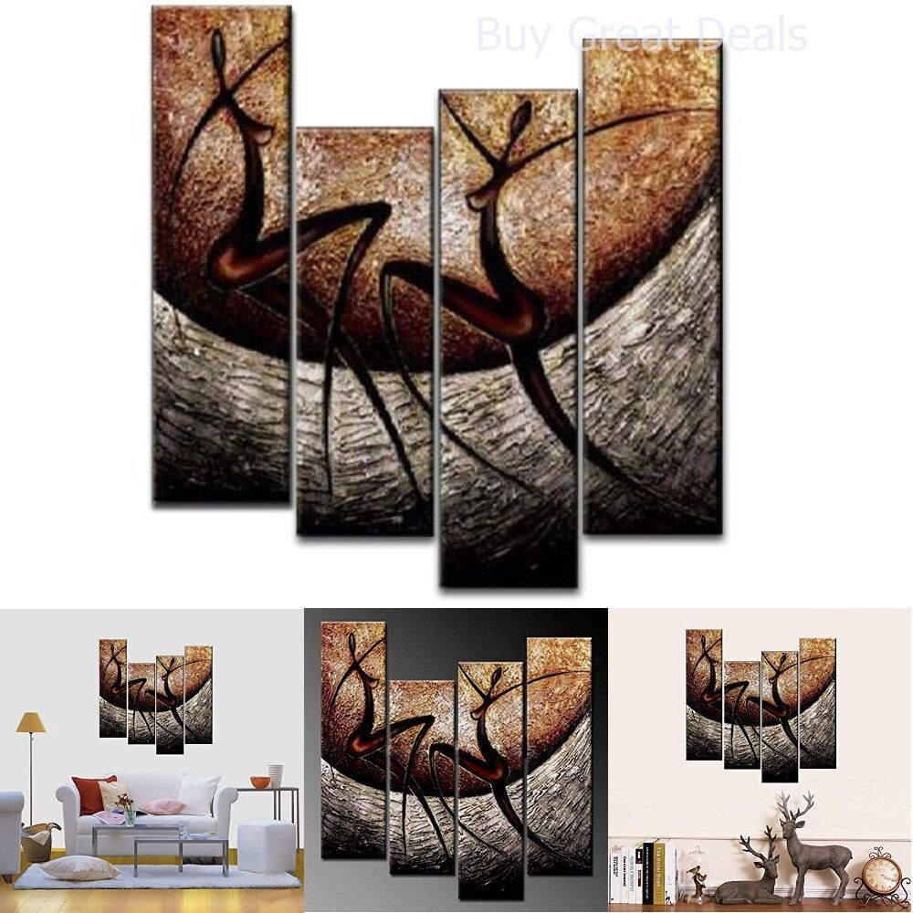 4 piece african dancers hand painted canvas stretched and for African wall decoration