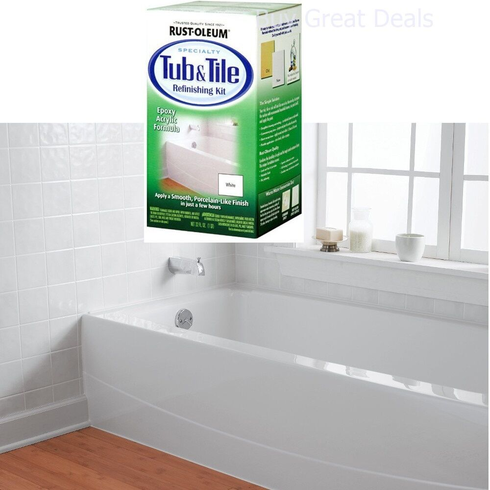 Rust-Oleum Bathtub Title Tub Tile Refinish Paint Kit White Enamel ...