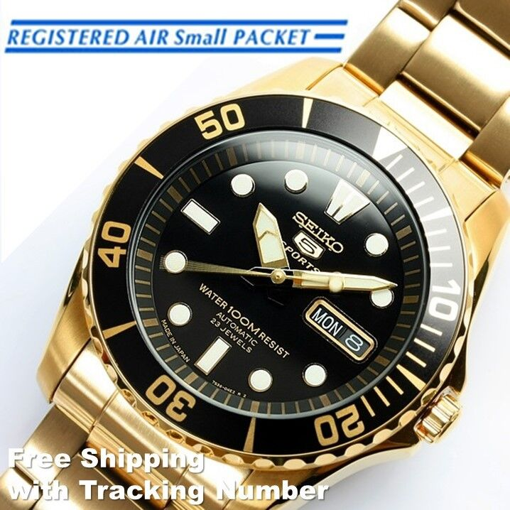 Seiko 5 sports snzf22 snzf22j automatic gold black men 39 s watch made in japan 4954628104304 ebay for Watches japan