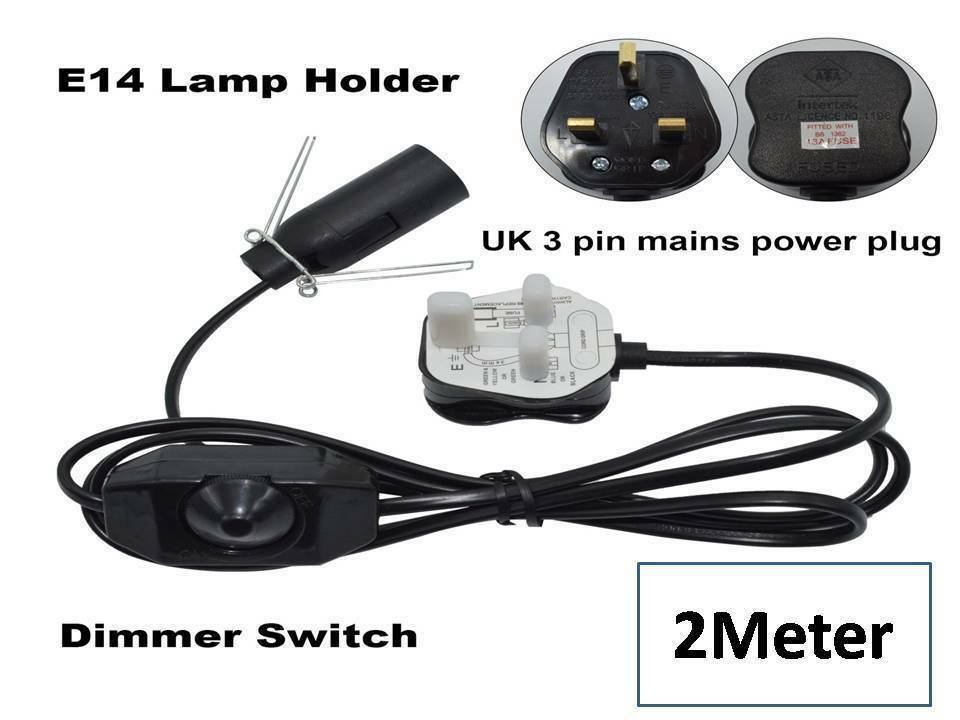 Salt Lamp Electrical Base Replacement : Salt Lamps Lead Replacement Electrical Fittings Cord with Dimmer&bulb UK Pin 2M eBay