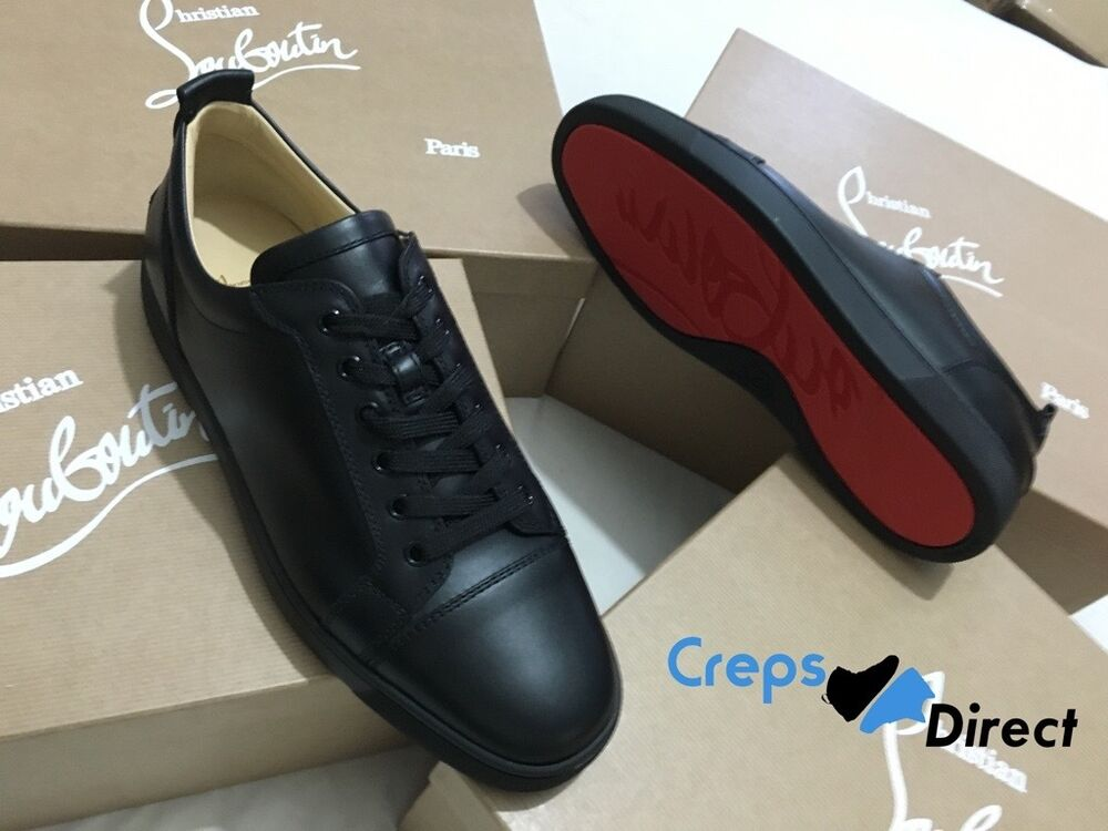 e6291e5346f Details about Auth Christian Louboutin Louis Junior Flat Black Calf Leather  Classic Sneakers