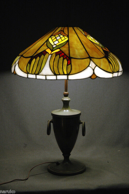 1980 S Stained Glass Lamp : Antique wonderfully designed leaded stained slag glass