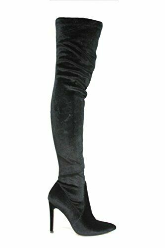 CAPE ROBBIN MINI STRETCH BLACK POINTED TOE THIGH HIGH STRETCH MINI VELVET FITTED ... e73f31