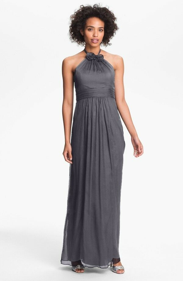NEW AMSALE Silk Halter Rosette DRESS GOWN SIZE 12 $310 CHARCOAL GREY ...