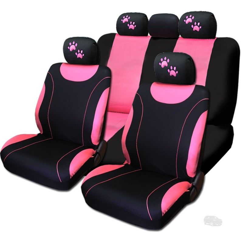 new front rear black pink polyester seat covers pink paws set for jeep ebay. Black Bedroom Furniture Sets. Home Design Ideas