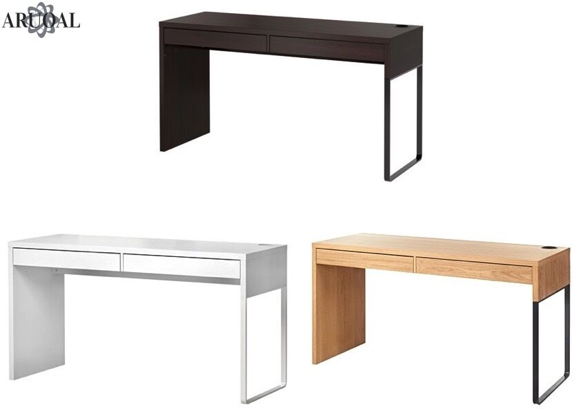 ikea micke desk computer home office white oak effect black brown 142x50cm ebay. Black Bedroom Furniture Sets. Home Design Ideas