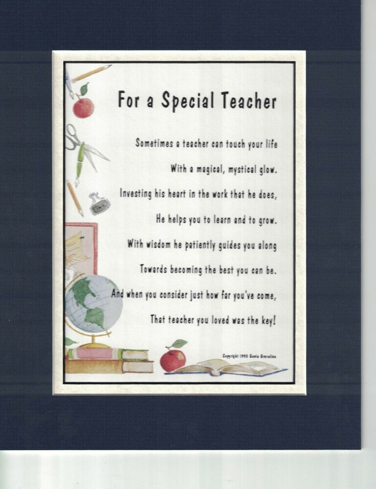 171 Gift Present Poem For A Special Teacher Male Ebay