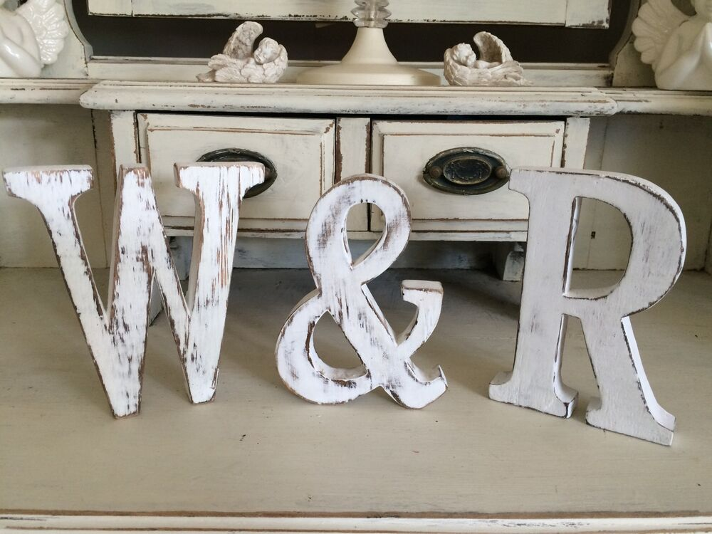 Large Shabby Chic Vintage White Wooden Baby Names A Z