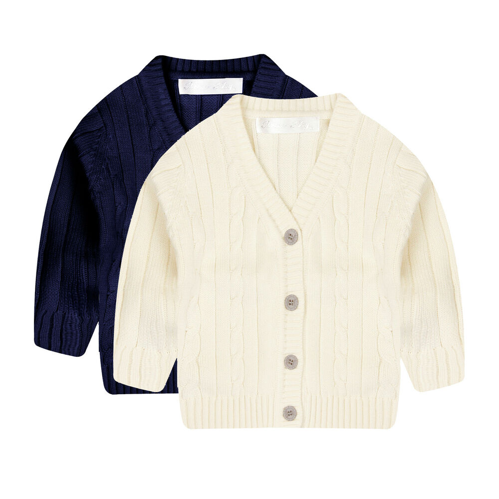 1a0fb4c5420f Details about NEW Boys kids cotton Cardigen with Cable Stitch V in WHITE  NAVY size 6 9m - 6