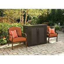 Patio Storage Cabinet Large Rubbermaid Resin Rattan Patio Brown Chic Outdoor