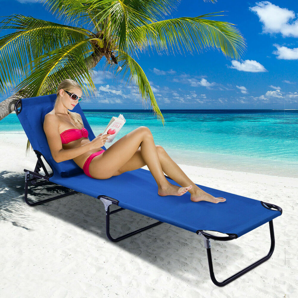 Patio Foldable Chaise Lounge Chair Bed Outdoor Beach Camping Recliner Pool Yard 601090932891 Ebay