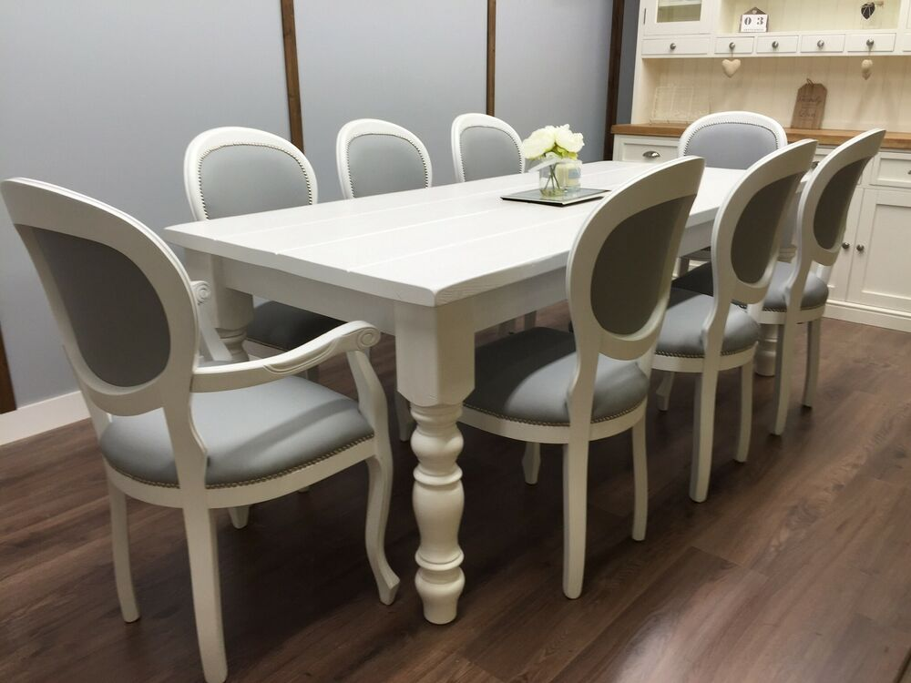FARMHOUSE TABLE Vintage French 8 Upholstered Chairs SHABBY