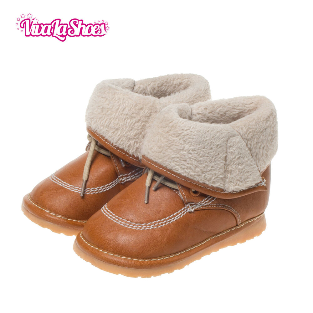 boys toddler leather squeaky boots brown with fleece