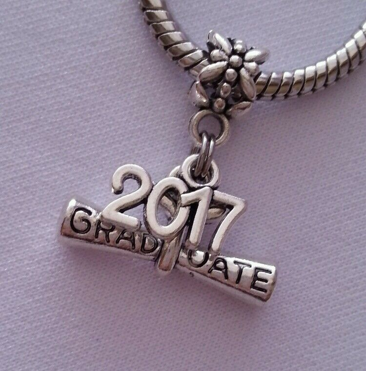 Pictures Of Charm Bracelets: Graduate Diploma Graduation 2017 Dangle Bead For Silver