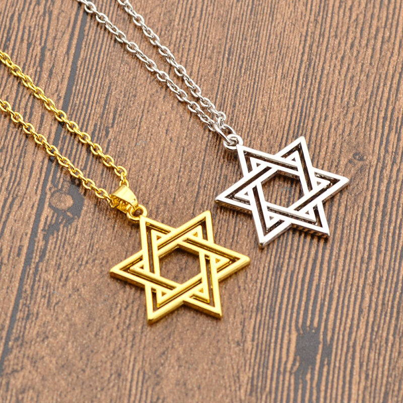 Jewish star of david charm necklace silver gold pendant for Star of david necklace mens jewelry