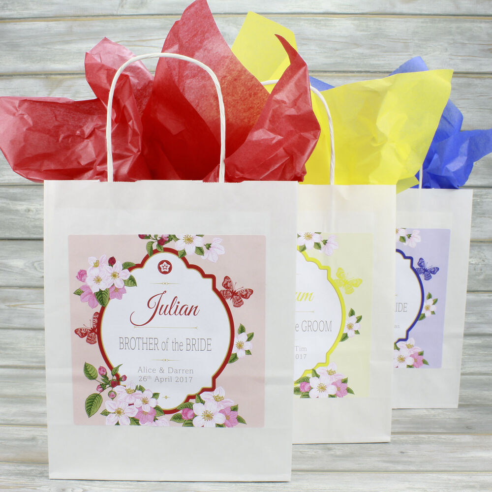 Personalised Wedding Favour Party Gift Bag | Coloured Tissue Paper ...