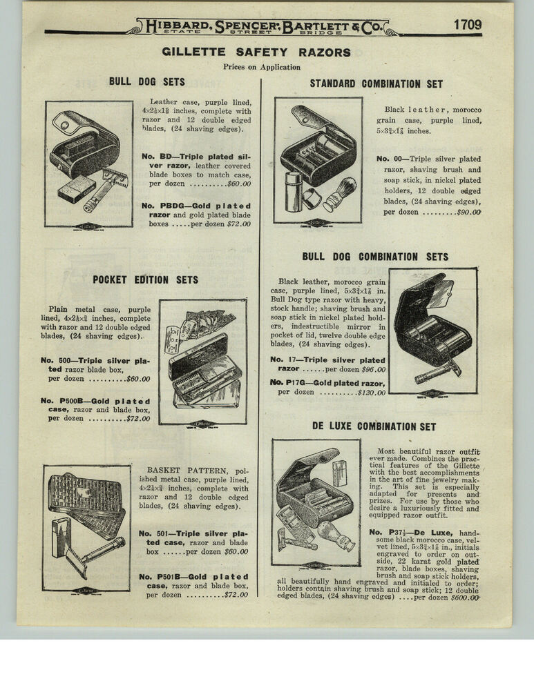 1919 Paper Ad 2 Sided Gillette Safety Razor Deluxe