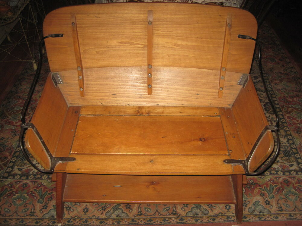 Antique Buggy Seats : Antique bench hall seat wood iron buggy stagecoach ebay